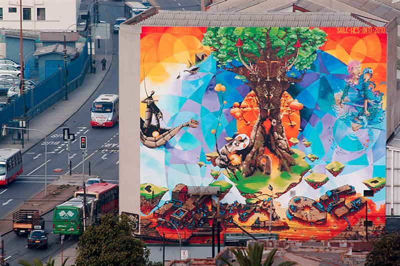 Murales y graffitis adornan calles y cerros de valparaso for Graffitis y murales callejeros